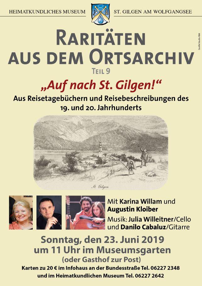 """Heimatkundliches Museum St. Gilgen - Raritäten aus dem Ortsarchiv Teil 9 """"Auf nach St. Gilgen - 23. Juni 2019"""